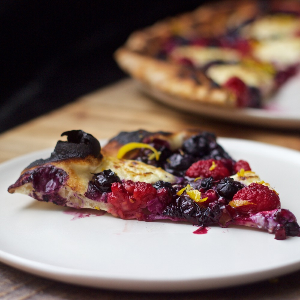 a slice of very berry pizza