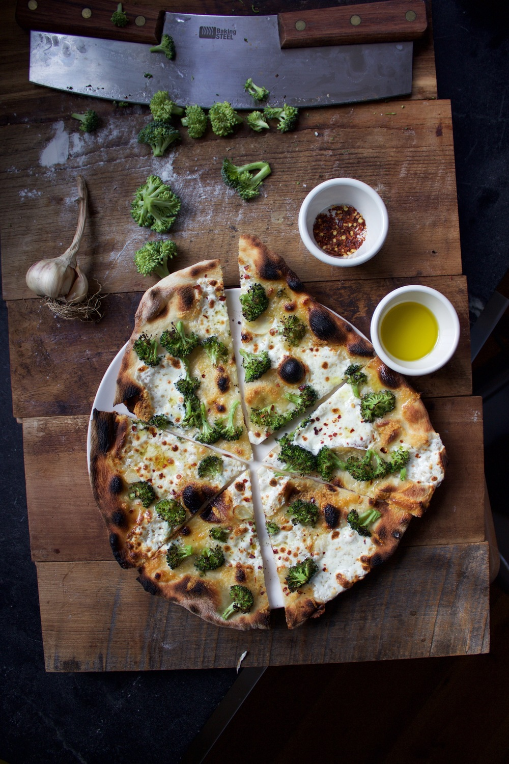 Broccoli think crust pizza