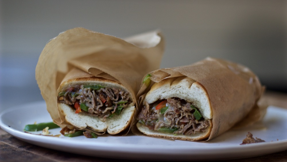 Philly cheese steak wrapped in parchment