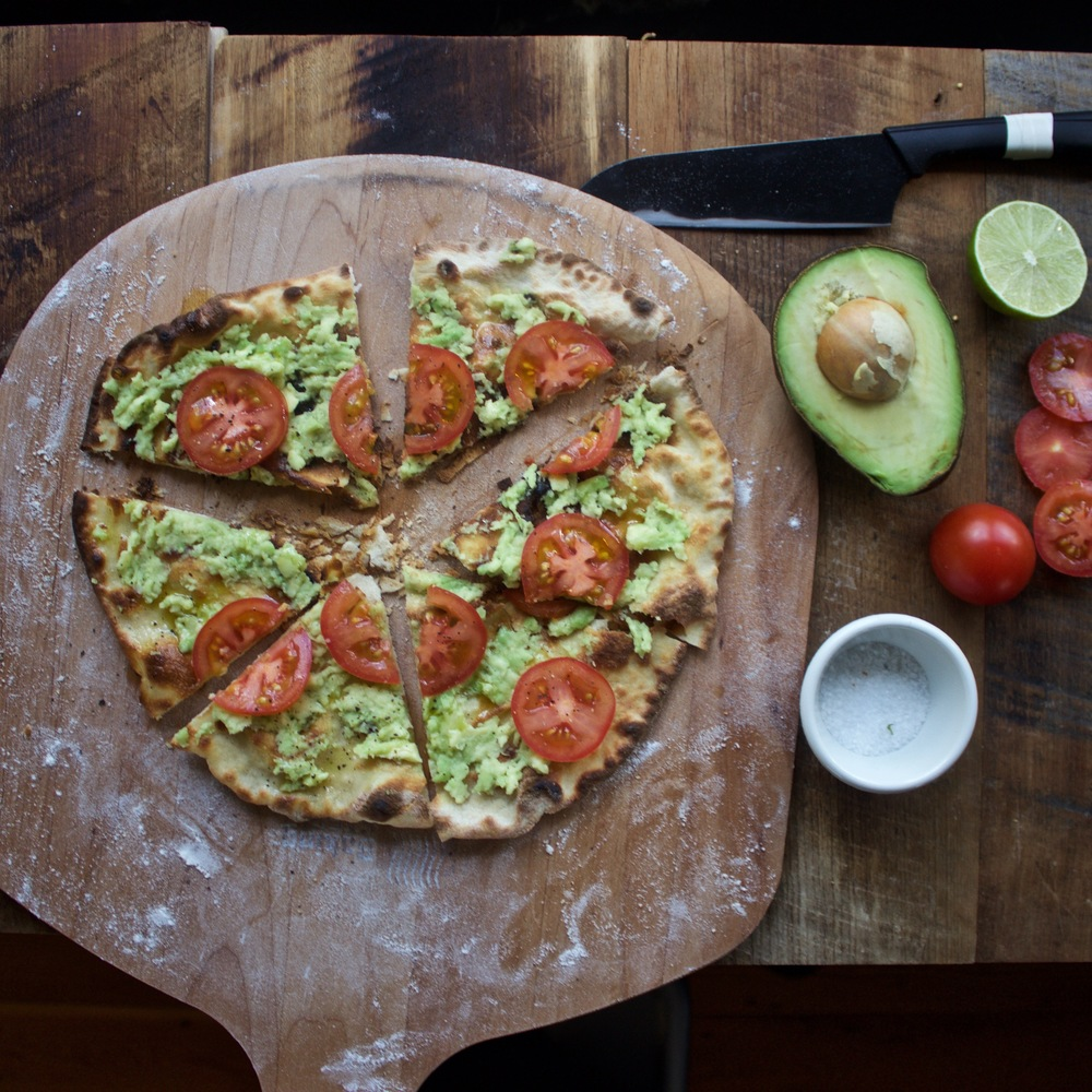 avocado and tomato pizza made on my Baking Steel
