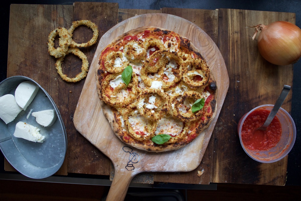 Onion Ring Pizza baked on a Baking Steel