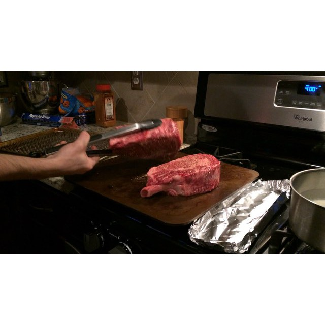 @oxytiger13  and her Hubby tossed these GINORMOUS steaks on the steel.
