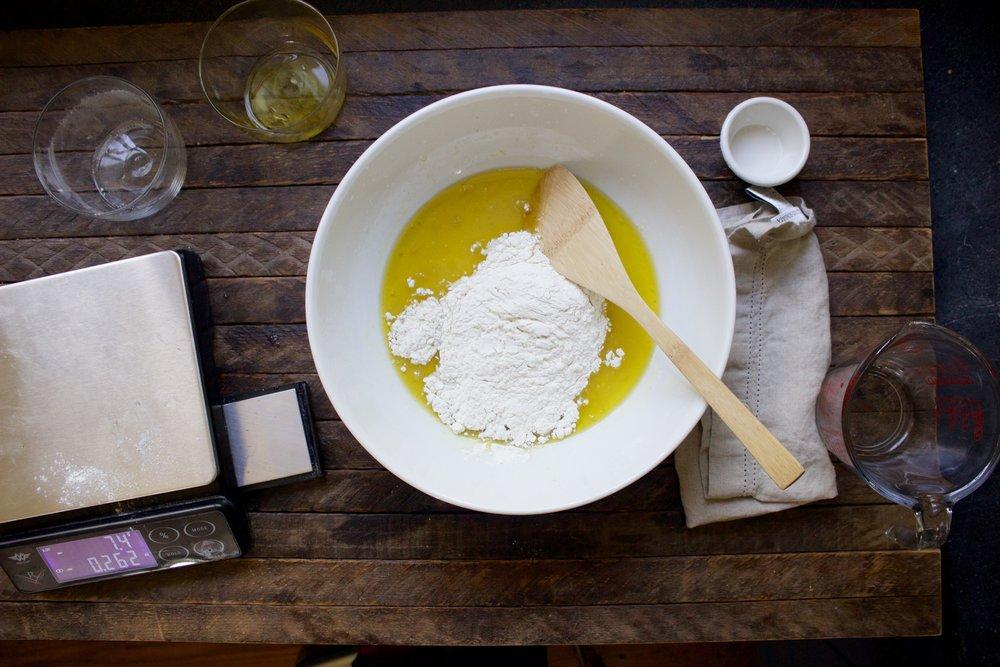 olive oil tortas mis en place