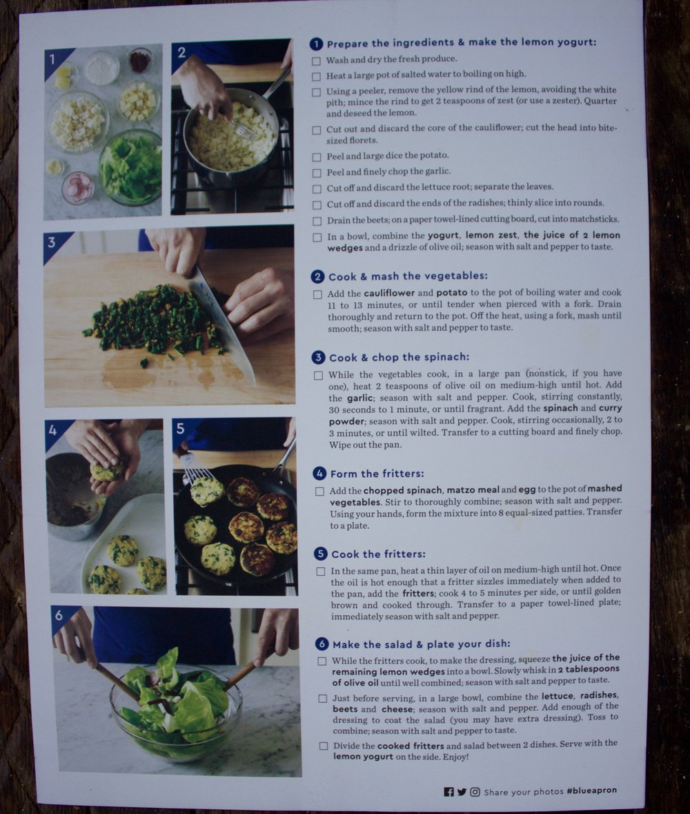 The recipe card (back).