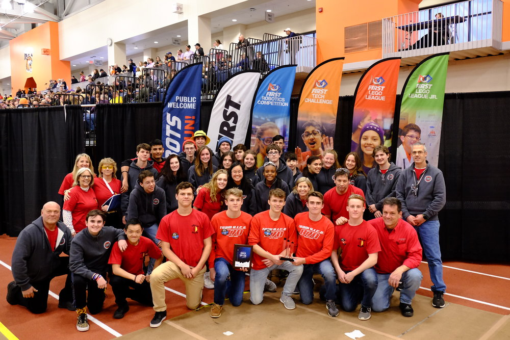 Team picture after receiving the Excellence in Engineering award at the Finger Lakes Regional.