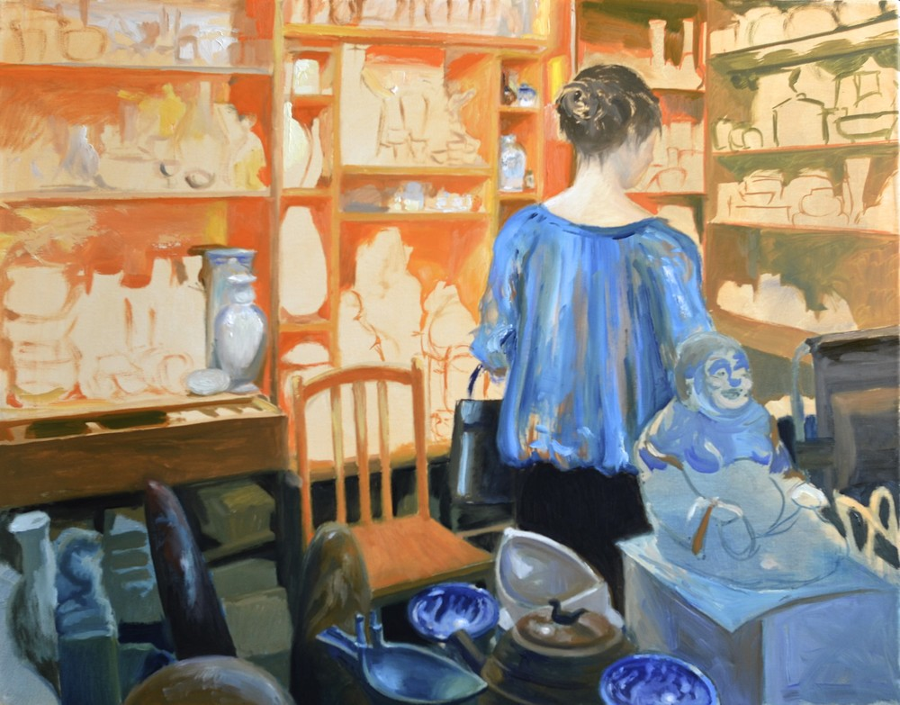 "Mon. Feb. 2, 2015 - ""The Antique Shop"", in progress @ 10.5 hours, 22x28in., oil on canvas"