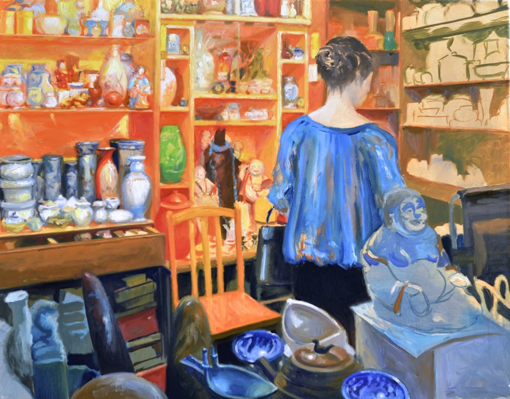"""The Antique Shop"", in progress @ 24 hours, 22x28in., oil on canvas"