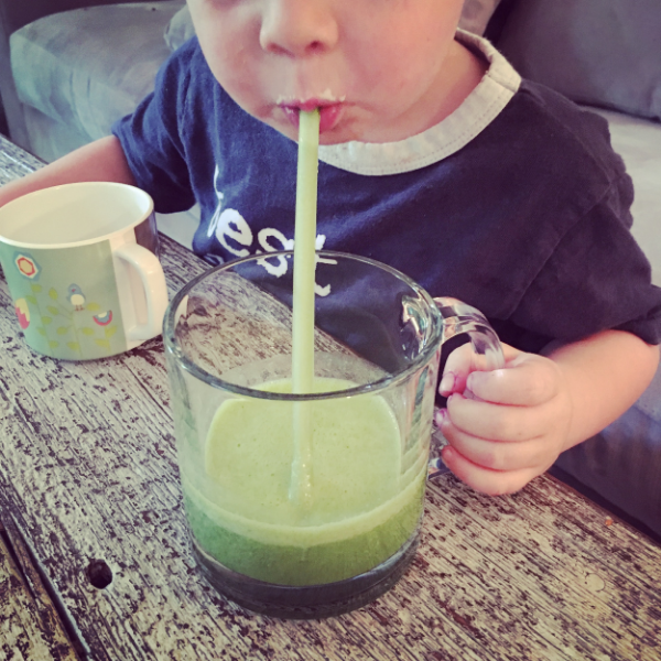 Don't give up. I have tried, and tried, and tried, and tried...to get my preschooler to eat a smoothie. One day, he wanted one! Don't give up. Take breaks in between asking. Try different cups and straws. One day, your preschooler will also give in to a spinach drink!