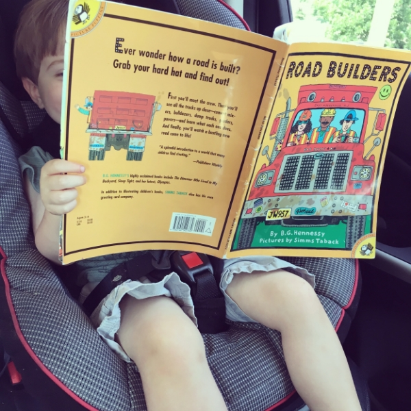 Make connections to the real world with books on the go. Grey loves to see crane trucks and diggers on the road, and then look them up in his book.