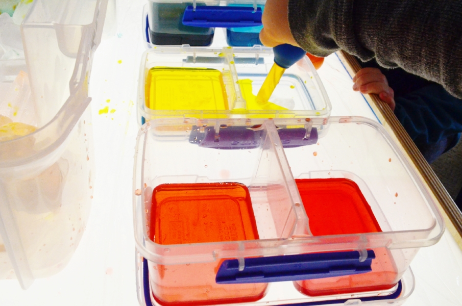 color mixing on the light table