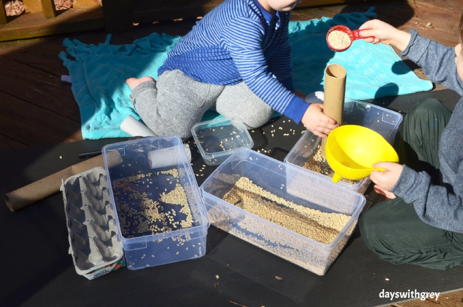 Preschool cooperation and working together sensory bin