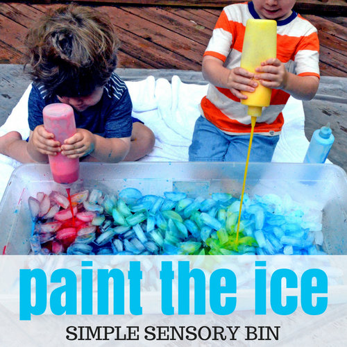 a simple sensory bin for ice play days with grey