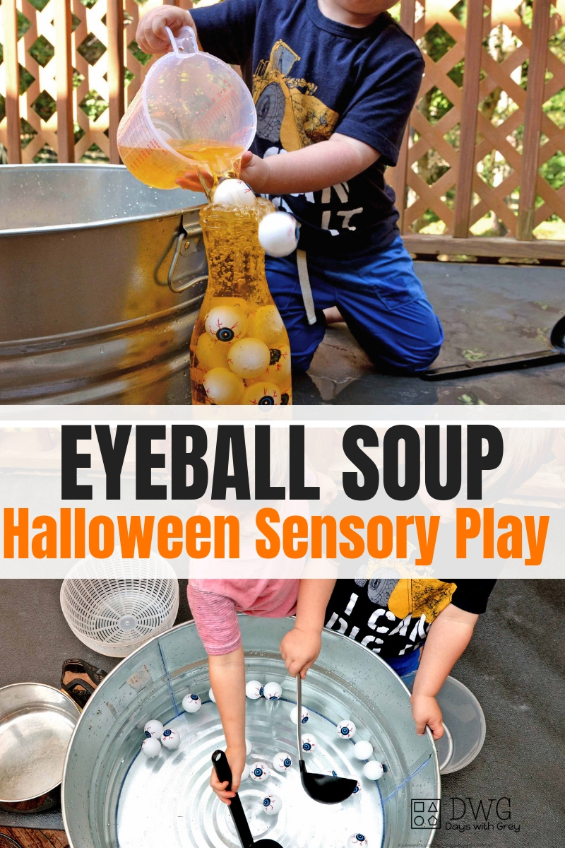 Halloween Sensory play for preschoolers. Water play for fall. Sensory bin for fall.