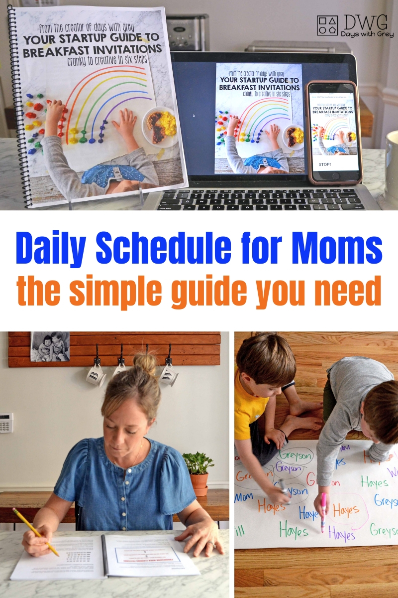 Stay at home mom daily schedule, routine ideas for moms, parents guide to a daily schedule, breakfast invitations, preschool activities, toddler activities, ideas for kids #preschool #sahm #wahm #toddler #preschooler