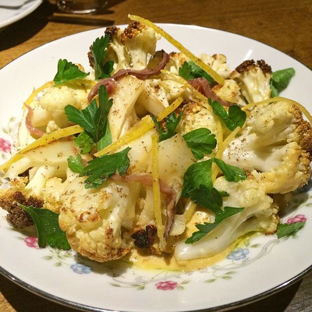 roasted cauliflower with anchovy, chickpea, preserved lemon and parsley. #ourfood #newmenu #eatyourvegetables #porzia #foodporn #parkdale #instapic