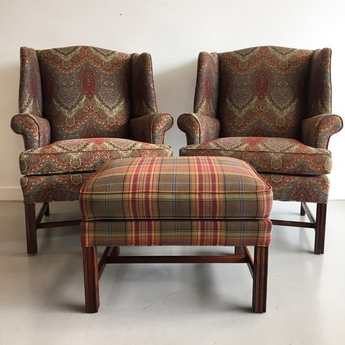 Pair of Wingbacks & Ottoman