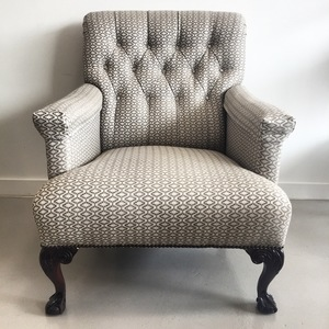Antique Tufted Clawfoot Armchair
