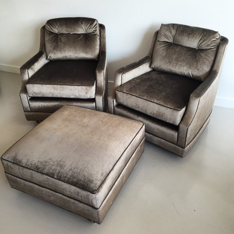 Art Deco Swivel Armchairs & Ottoman
