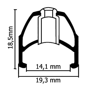 Typical dimensions of a clincher rim showing internal & external width as well as depth.