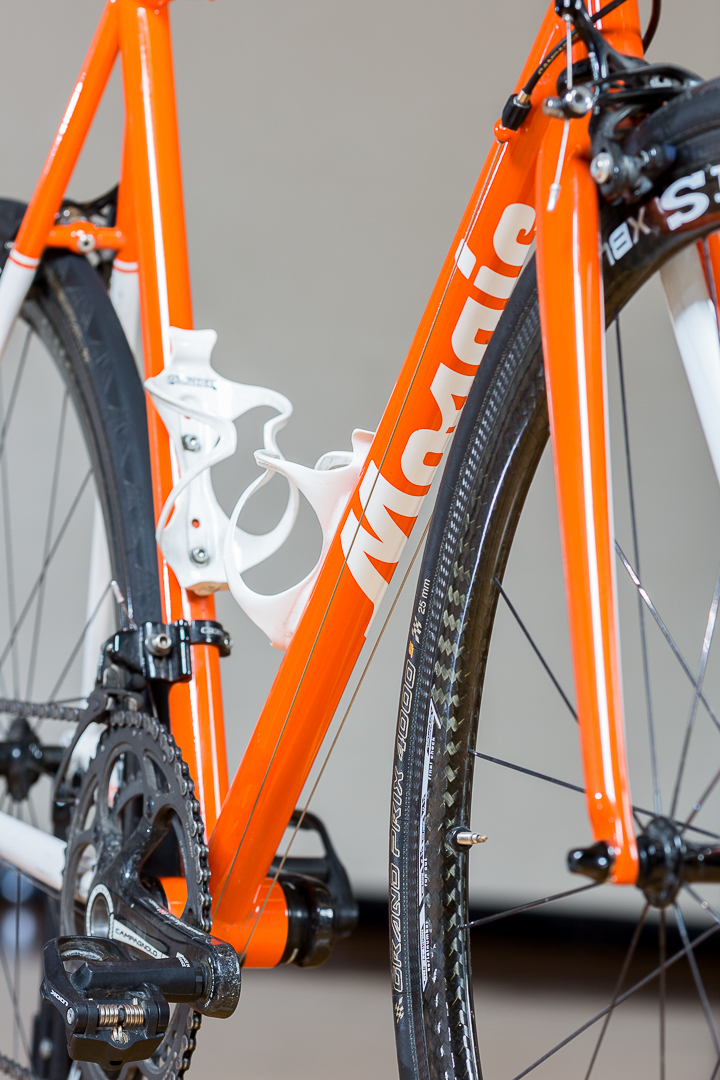 Downtube detail on Eryn's Syracuse Orangemen themed Mosaic Bicycles