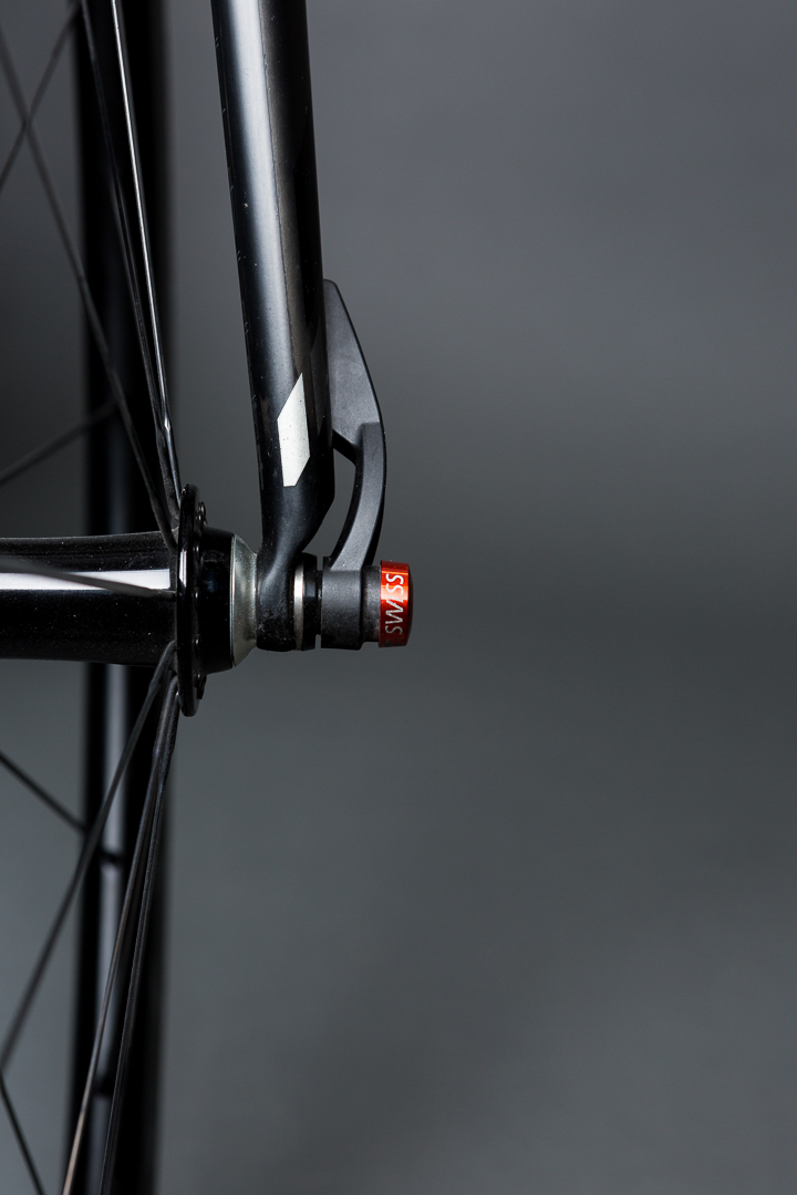 A utilitarian masterpiece. The DT Swiss skewers lock the custom Boyd Wheels in place on Jason's BMC SLR01 Team Machine