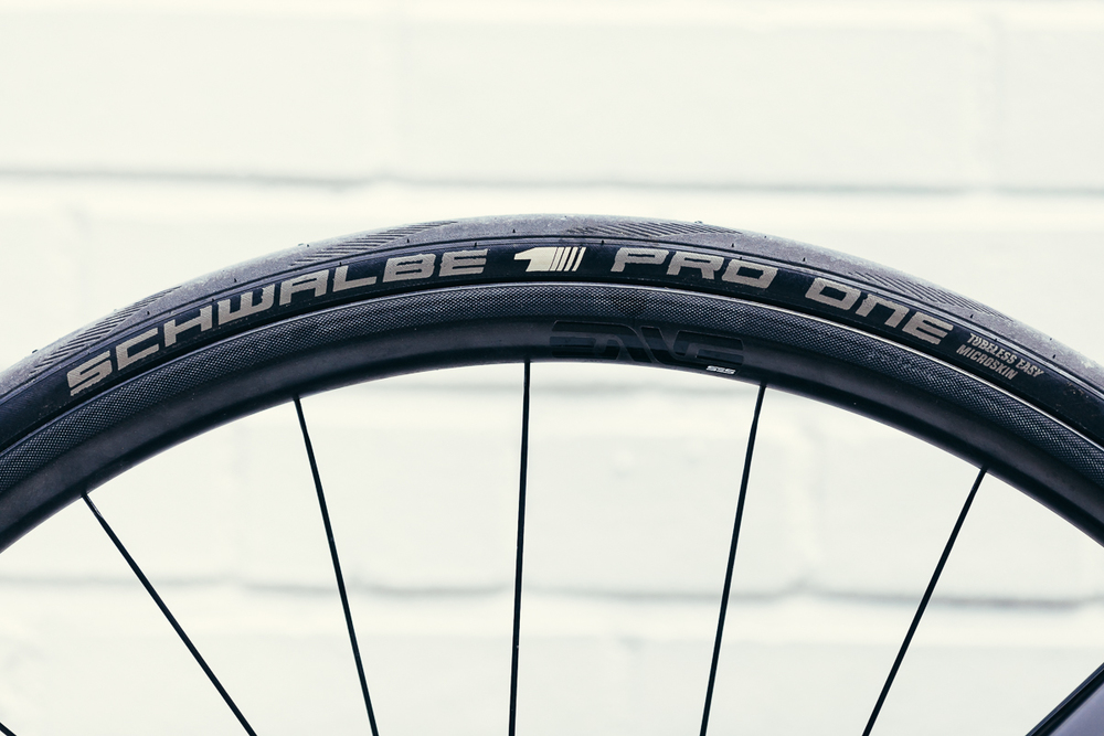Schwalbe Pro One tubeless tires roll on Jessie's ENVE 2.2 Smarts.
