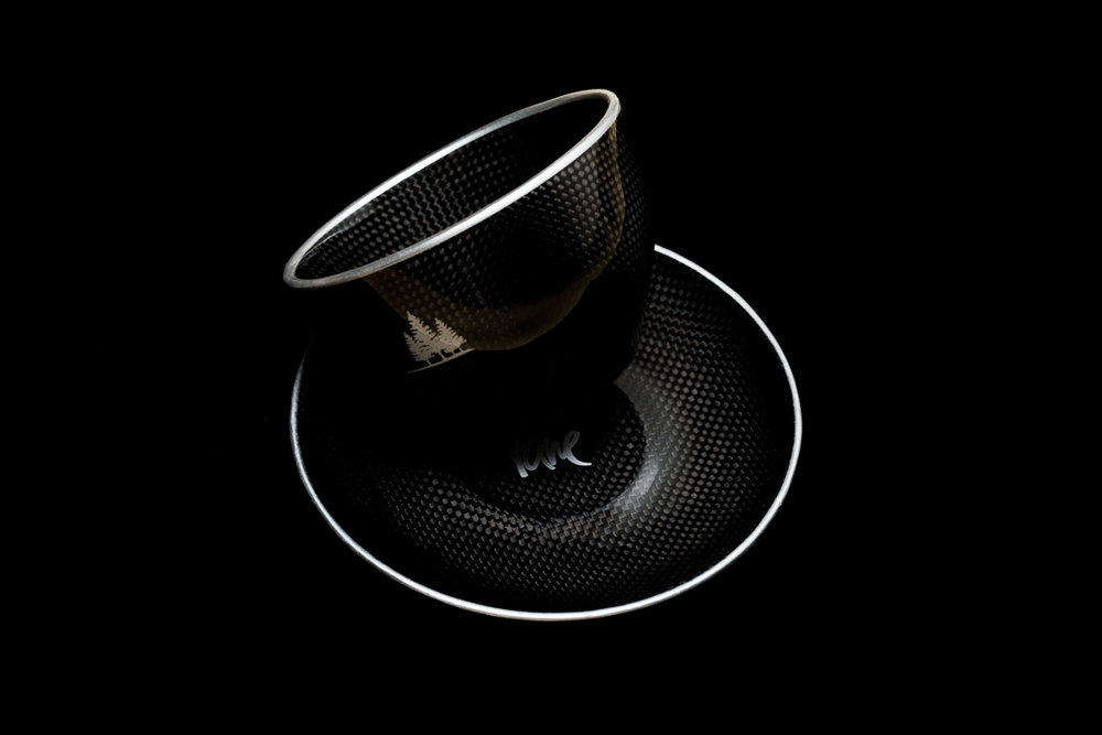 Tune Rohrpott carbon fiber coffee mug and saucer