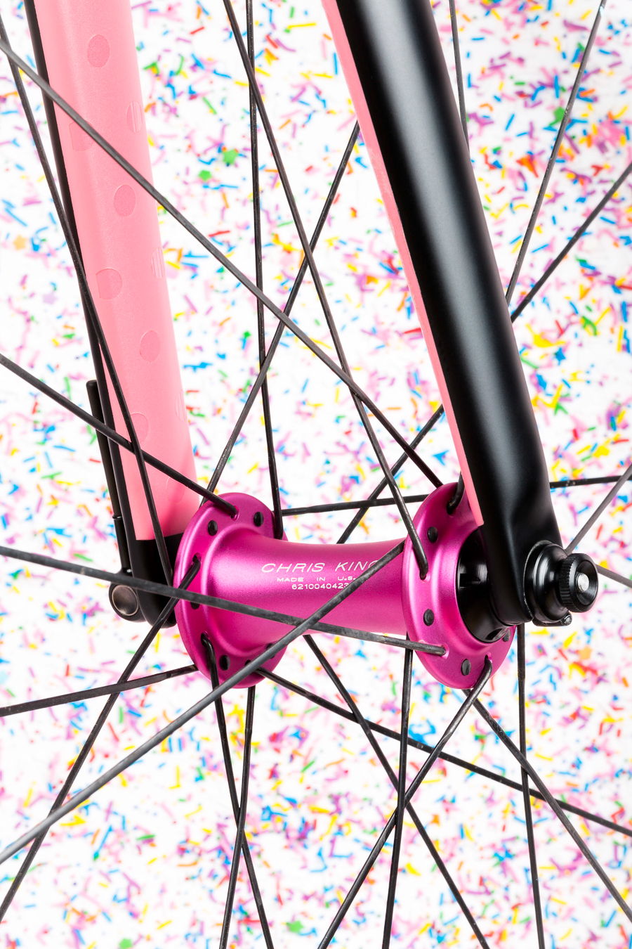The new Chris King matte Punch Pink hubs are a bold choice. Like extra sprinkles on your birthday cake.