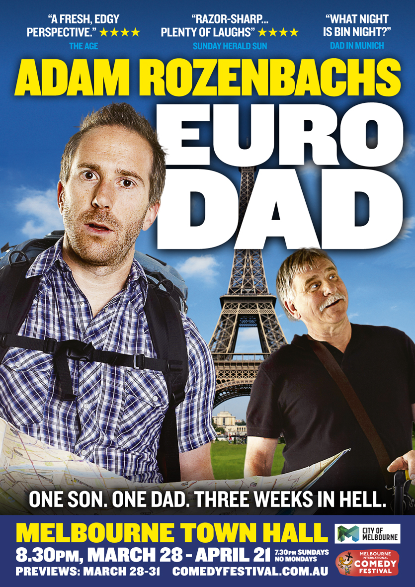 DO you have or have you ever had a parent? Well if you have, there's something in this show for you. Eurodad is a show about Adam's 21-day trip around Europe with his father, and the gamut of truly annoying things his dad (and your dad and my dad) does, seemingly with the sole purpose of driving us completely round the twist. There are some storyline side-trips, including Adam's scary but ridiculously funny trip to hospital with anaphylaxis and a trampolining incident that proves he's probably not geared for babysitting. But the real star of the show is Adam's dad, who makes some surprising cameo appearances and leaves the audience in tears and stitches. He's clearly worked hard on the show and it's packed full of material and very fast-paced, but his timing ensures that you're able to digest all the material, rather than end up in a foetal position with comedy whiplash. This is solid, quality stand-up and there really is something in here for everyone. Adam Rozenbachs is a seasoned comedy writer and performer, with TV and radio credits as well as stand-up and it really shows. A quality performance. ★ ★ ★ ★