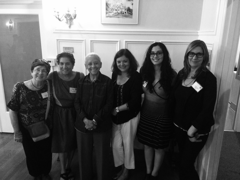 The planning committee with Nikki Giovanni. From left to right: Ruth Light, Ana Thorne, Nikki Giovanni, Ruth Garcia-Corrales, Rachelle Yousuf, and Cynthia Levin