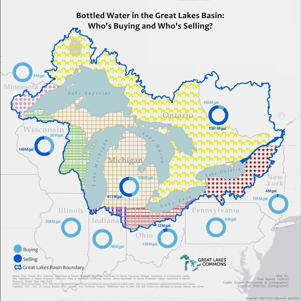 All map data is based on calculations within the Great Lakes watershed -- bottled water permits (selling category) and estimated bottled water consumption (buying category).
