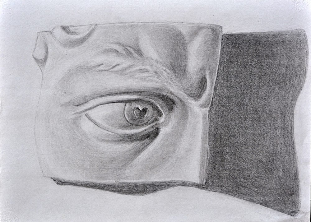 - Drawing from observation of Michelangelo cast