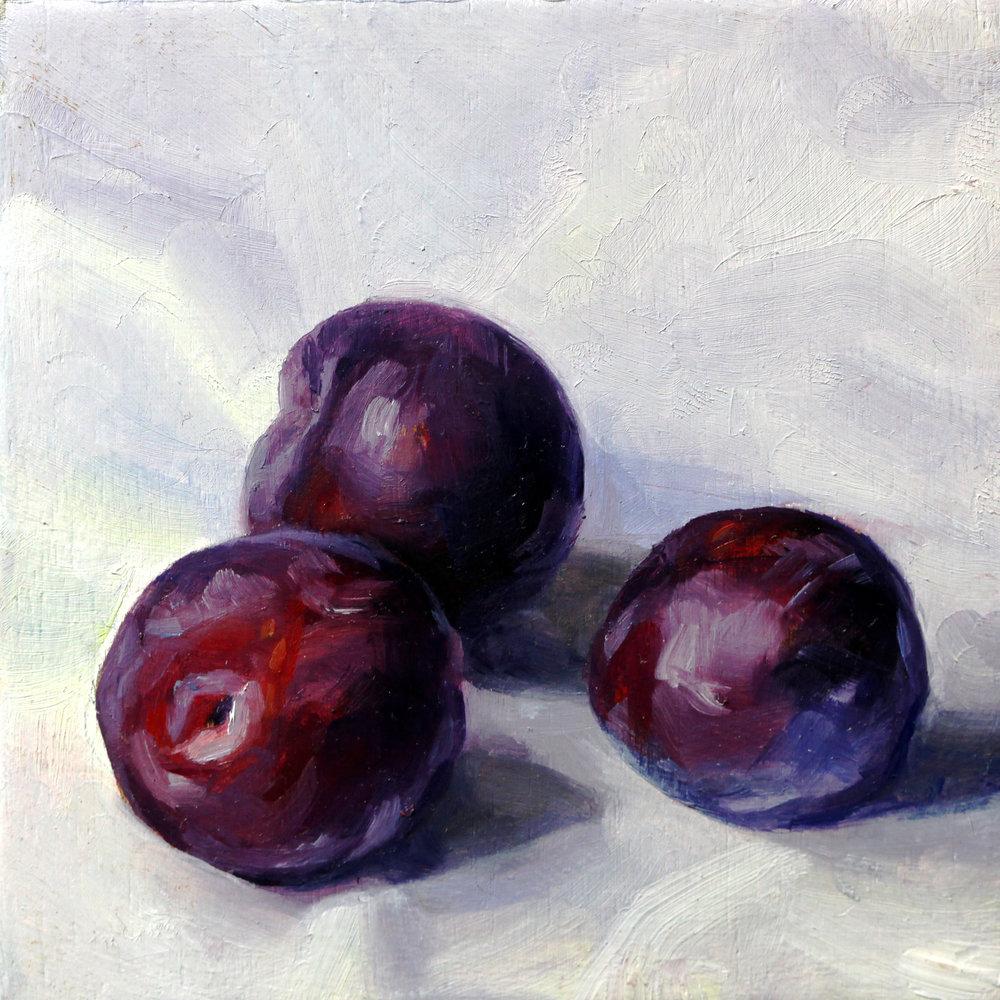 Three Purple Plums, Oil