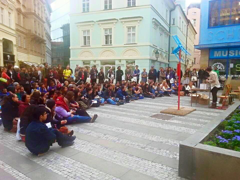 "Performing an early version of ""For Your Inspection"" in Prague."