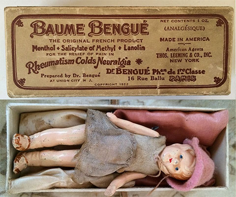 Miniature bisque doll store in Baume Bengue Box