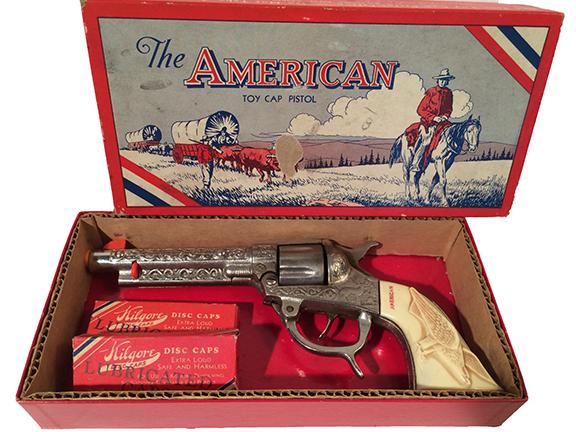 1940s Kilgore American #105 Toy Cap Pistol in original box with disc caps.