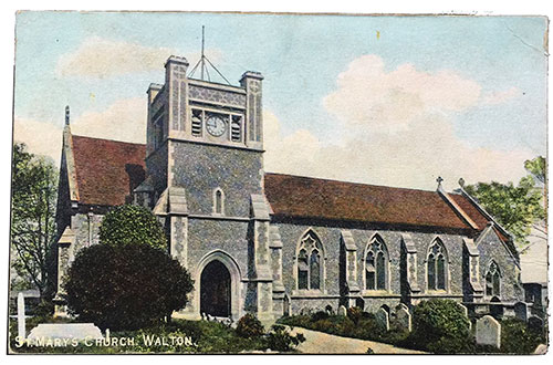 "St. Mary's Church. Walton - ""Christchurch"" pictorial post cards ""Naturette"" Series. Printed in England"