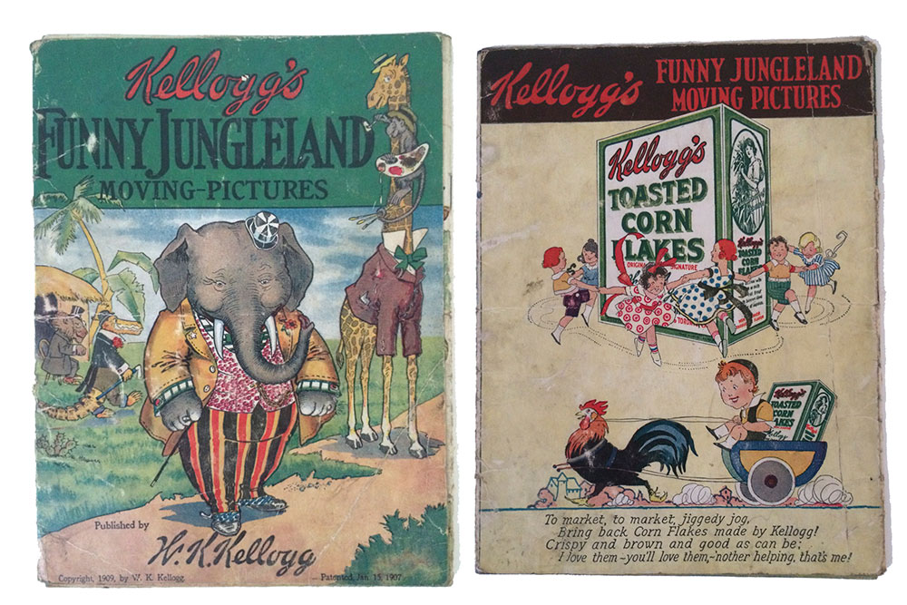 Kelloggs Funny Jungleland Moving-Pictures Book Copyright 1909 by W.K. Kellogg. Patented Jan 15, 1907