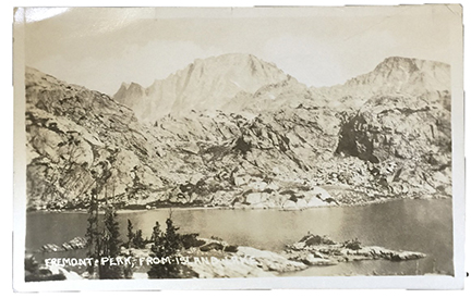 Fremont Peak from Island Lake - Pinedale, WY - Real Photo Postcard 1924
