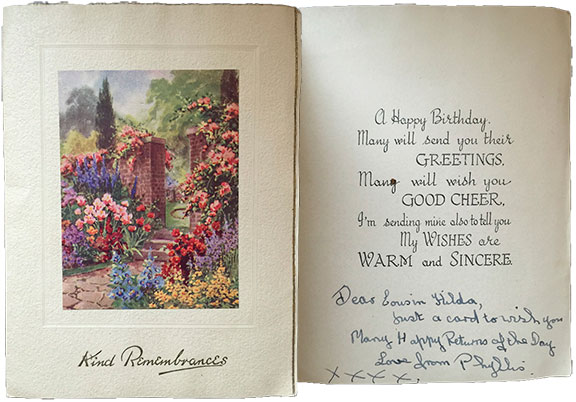 1946 birthday card from london