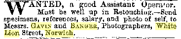 May 25, 1888 The Photographic News Help Wanted Ad for Gavin & Banger