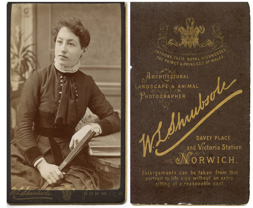 "Margaret ""Peggy"" Vince (1864-1923) - est. 24 to 26 years old. Cabinet Card W.L. Shrubsole Davey Place & Victoria Station Norwich"