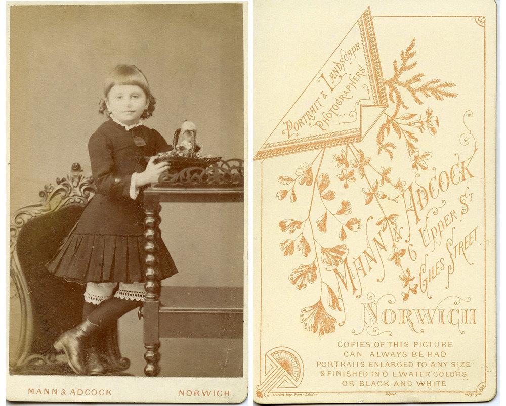 "Anna ""Annie"" Vince (1877-1932) Cabinet Card by Mann & Adcock 6 Upper Street Norwich"