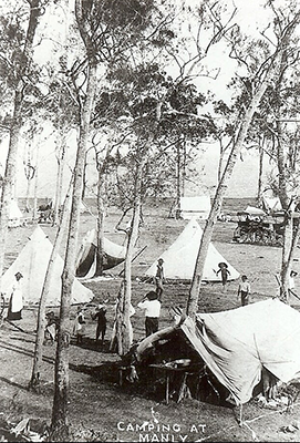 Atkinson family living in tents at Manly Beach while their home was being built.