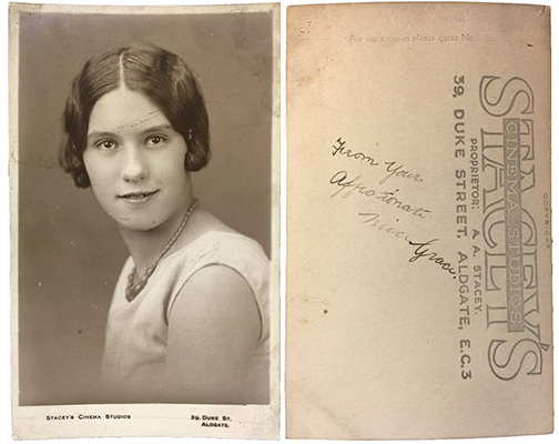 Grace Vince photographed at Stacey's Cinema Studios 39 Duke Street Aldgate London EC3. The street name was changed to Duke's Place in 1939, so the photo is before that. Based on similar real photo postcards I have found from Stacey's, I suspect Grace might have tried her hand at acting.