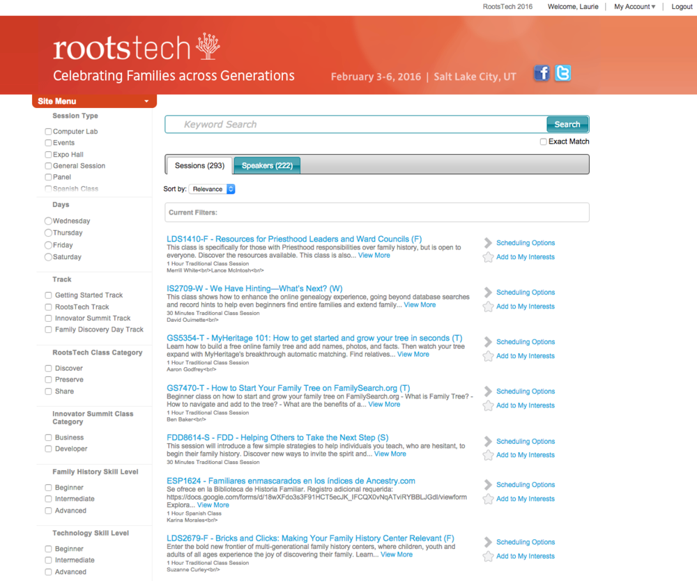 There are almost 300 sessions at RootsTech over the course of 4 days.