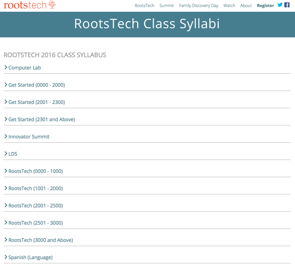 Screen shot of the Syllabus page.