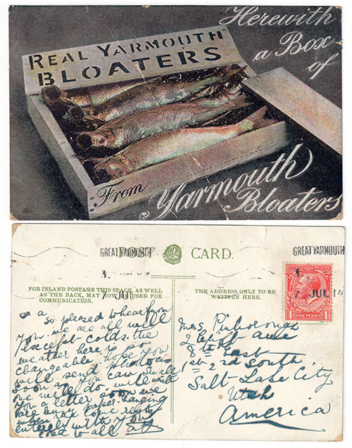 1914 postcard Real Yarmouth Bloaters