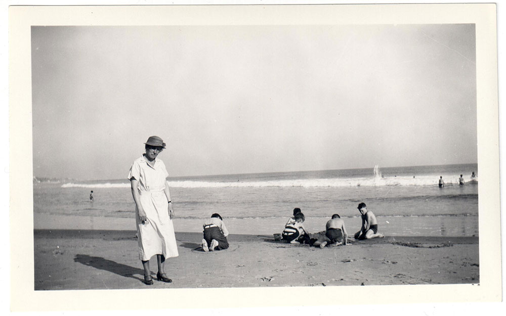 Long Beach 1937. My grandmother photographed by my grandfather with a Kodak Brownie. She smelled like jelly donuts & mothballs.