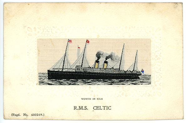 1911 R.M.S. Celtic postcard woven in silk. Stevengraph Regd No. 430269.